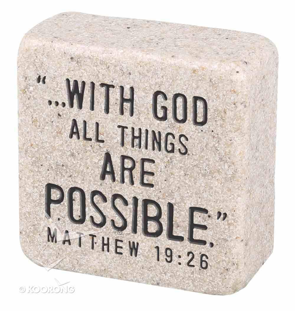 Cast Stone Plaque: Faith Scripture Stone, Cream (Matthew 19:26) Plaque