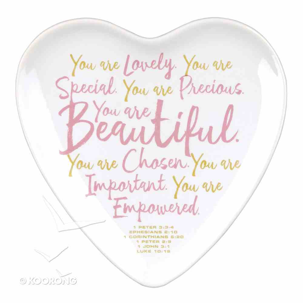 Ceramic Heart-Shaped Tray: You Are Beautiful, White/Pink (Various Scriptures) Homeware