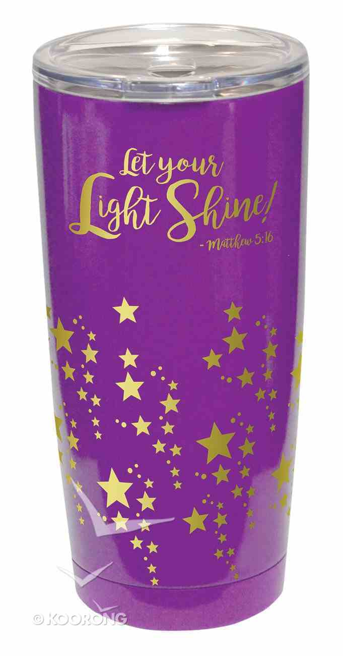 Gold Accent Steel Tumbler: Let Your Light Shine, Purple W/Clear Lid Homeware
