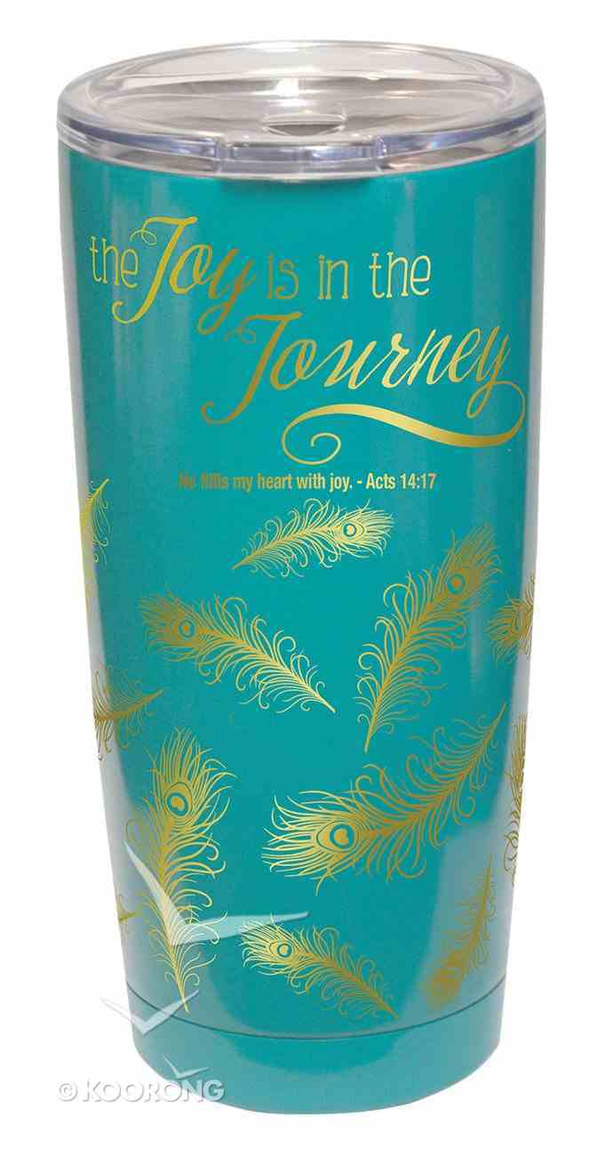 Gold Accent Steel Tumbler: The Joy is in the Journey, Teal/Gold Homeware