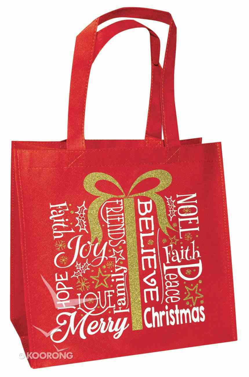Christmas Eco Tote Bag Gold Ink: Present Believe Joy Faith Hope Love Noel Merry Christmas Soft Goods