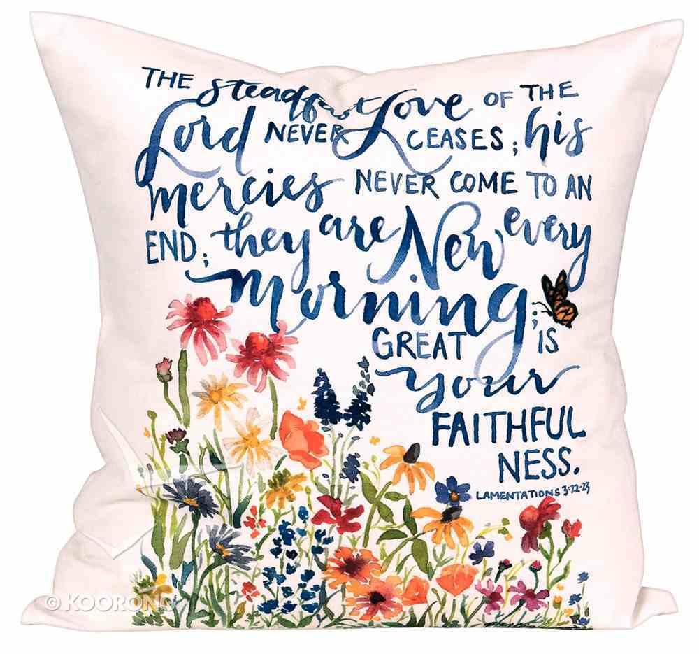 Gracelaced Steadfast Love: Pillow, White/Coloured Floral Garden Under Scripture (Lam 3:22-23) Soft Goods