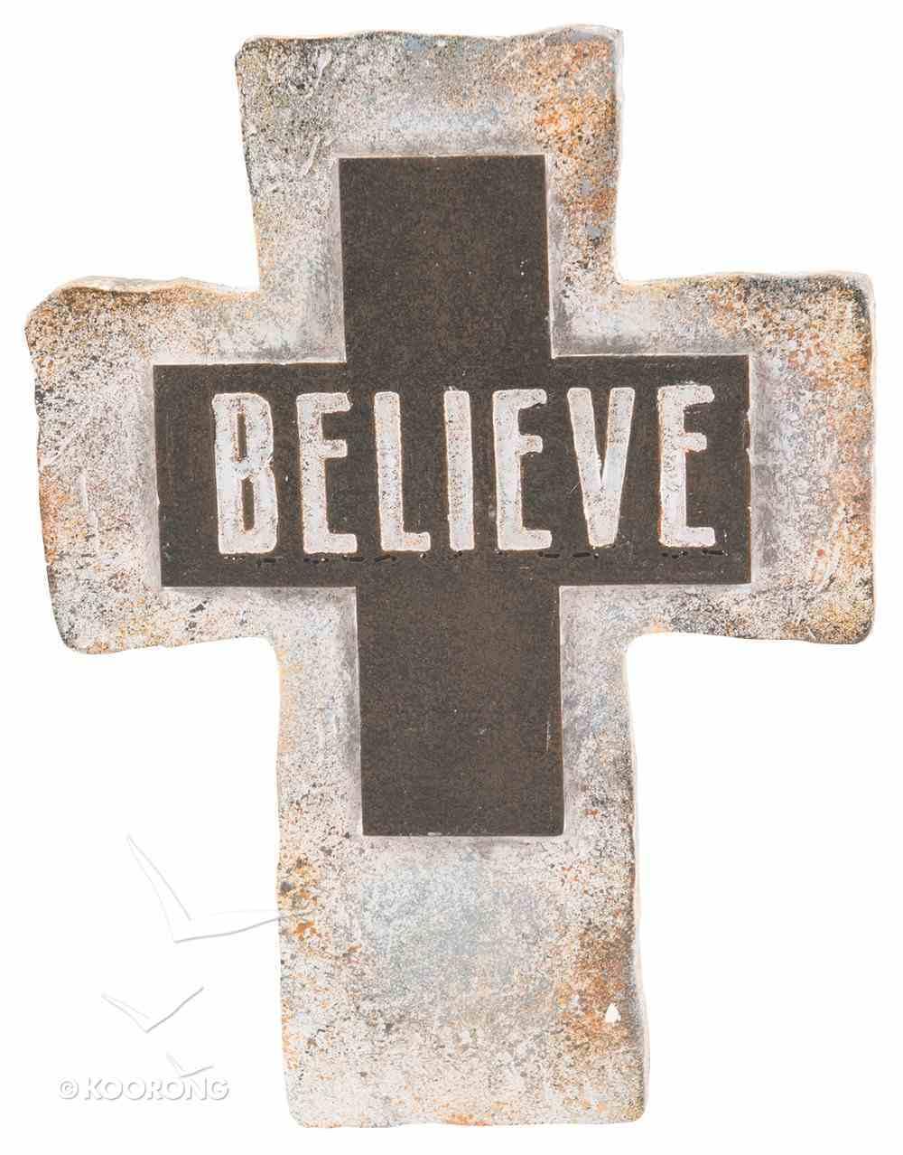 Resin Standing Cross: Believe, 20Cm Plaque