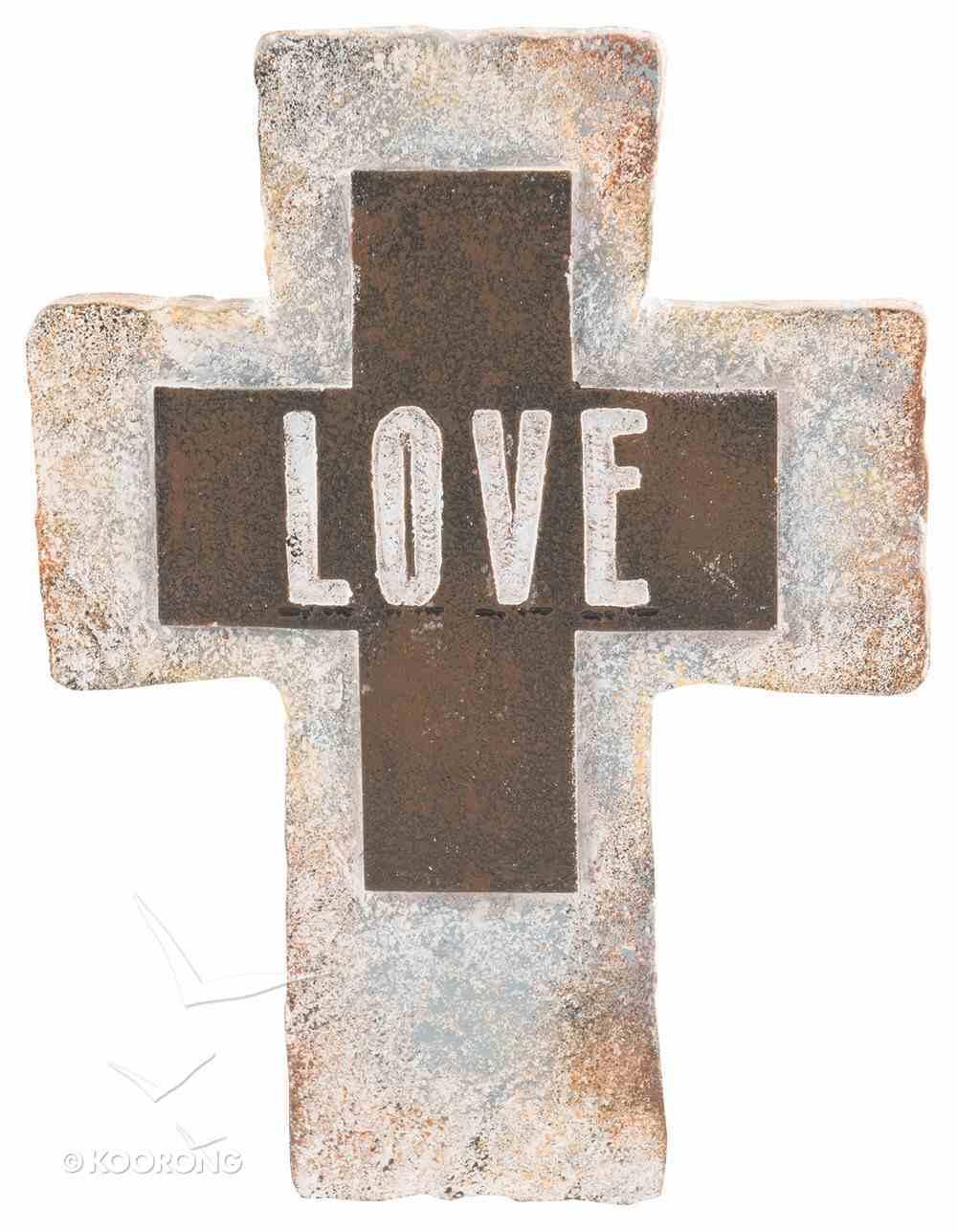 Resin Standing Cross: Love, 20Cm Plaque