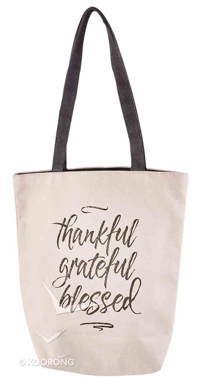 Canvas Tote Bag: Thankful, Grateful, Blessed, Cream/Black Handles Soft Goods