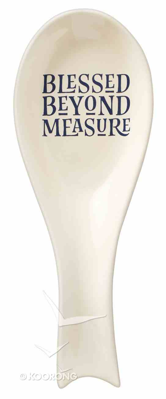 Ceramic Spoon Rest: Blessed Beyond Measure, Navy & White (Blessed Beyond Measure Collection) Homeware