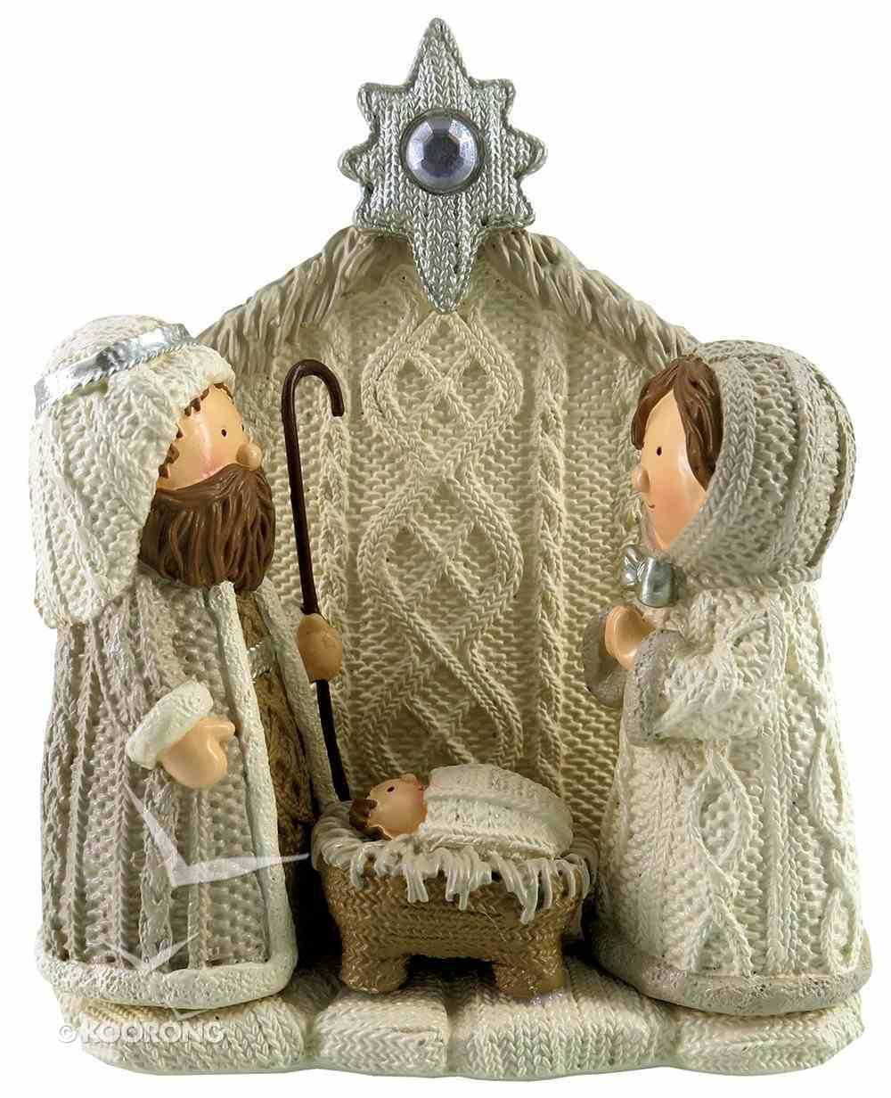 Resin Knitted Finish White/Beige Holy Family: Joseph, Mary & Baby Jesus Homeware