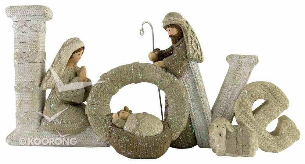 Resin Knitted Finish White/Beige Holy Family: Love Homeware