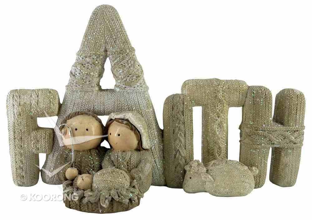 Resin Knitted Finish White/Beige Holy Family: Faith Homeware