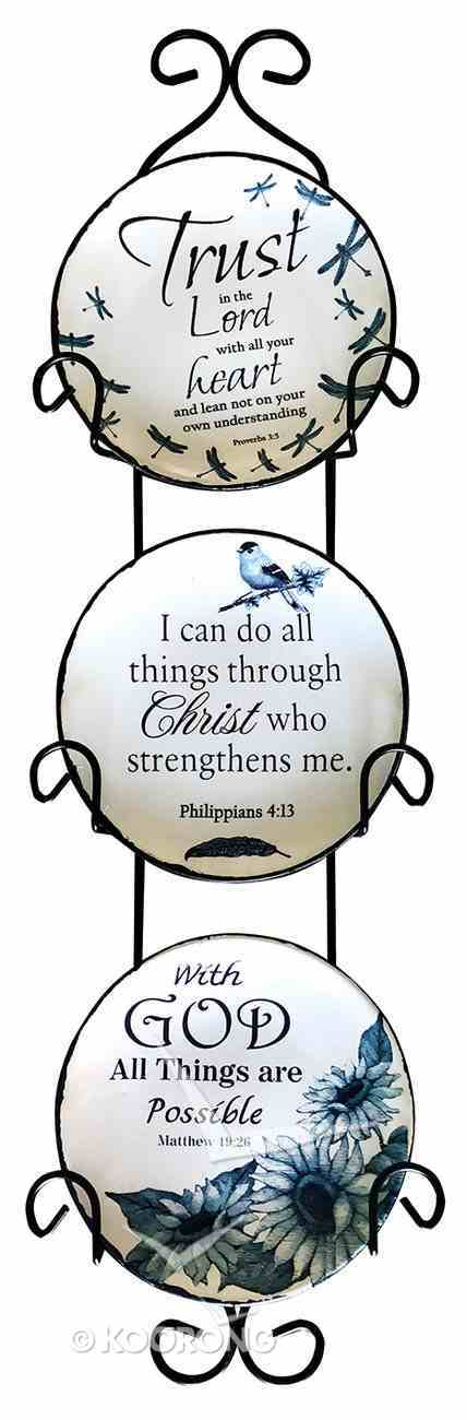 Ceramic Plate Set of 3 Incl. Plastic Rack: Trust in the Lord; With God All Things Are Possible; I Can Do All Things, Blue/White Nature Theme Homeware