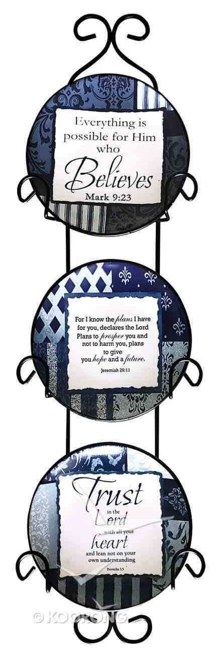 Ceramic Plate Set of 3 Incl. Plastic Rack: Trust in the Lord; Everything is Possible For Him Who Believe; O'lord You Are My God, Blue/Light Blue/White Patterns Homeware
