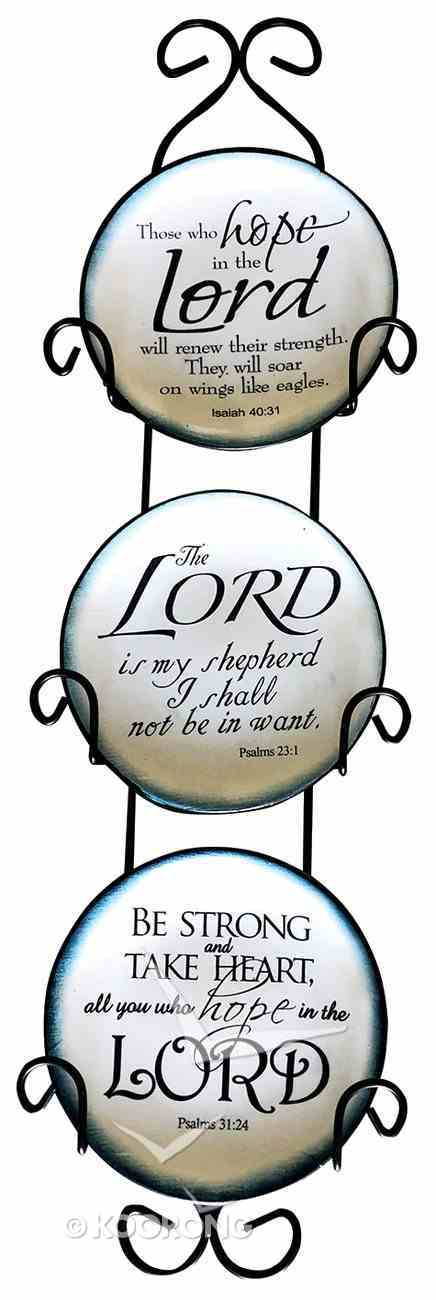 Ceramic Plate Set of 3 Incl Plastic Rack: Be Strong & Take Heart; the Lord is My Shepherd; Those Who Hope in the Lord, Blue/White With Scriptures Homeware