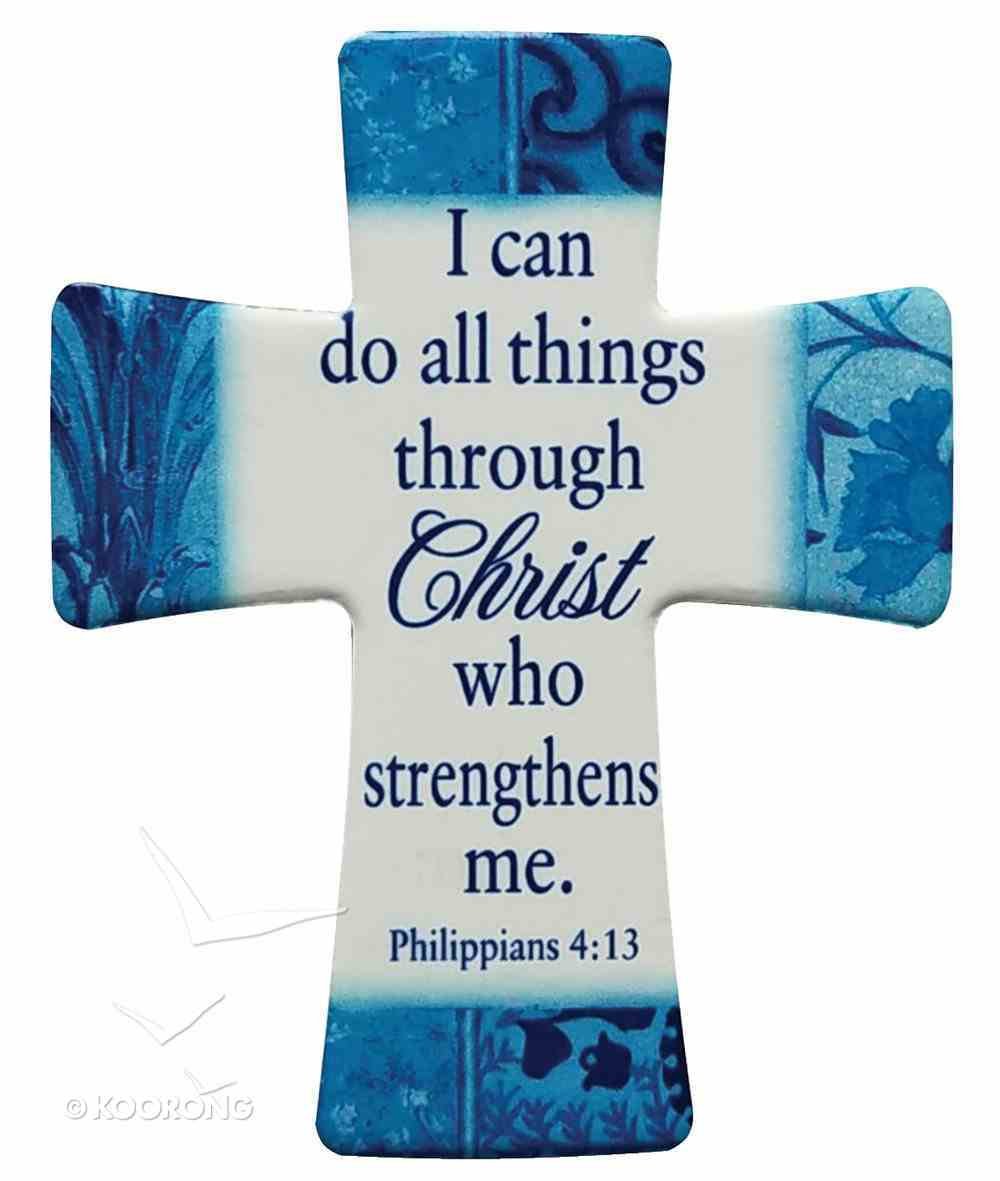 Ceramic Cross Wall Plaque: I Can Do All Things Through Christ.... Phil 4:13 Blue/Light Blue/White Patterns Plaque