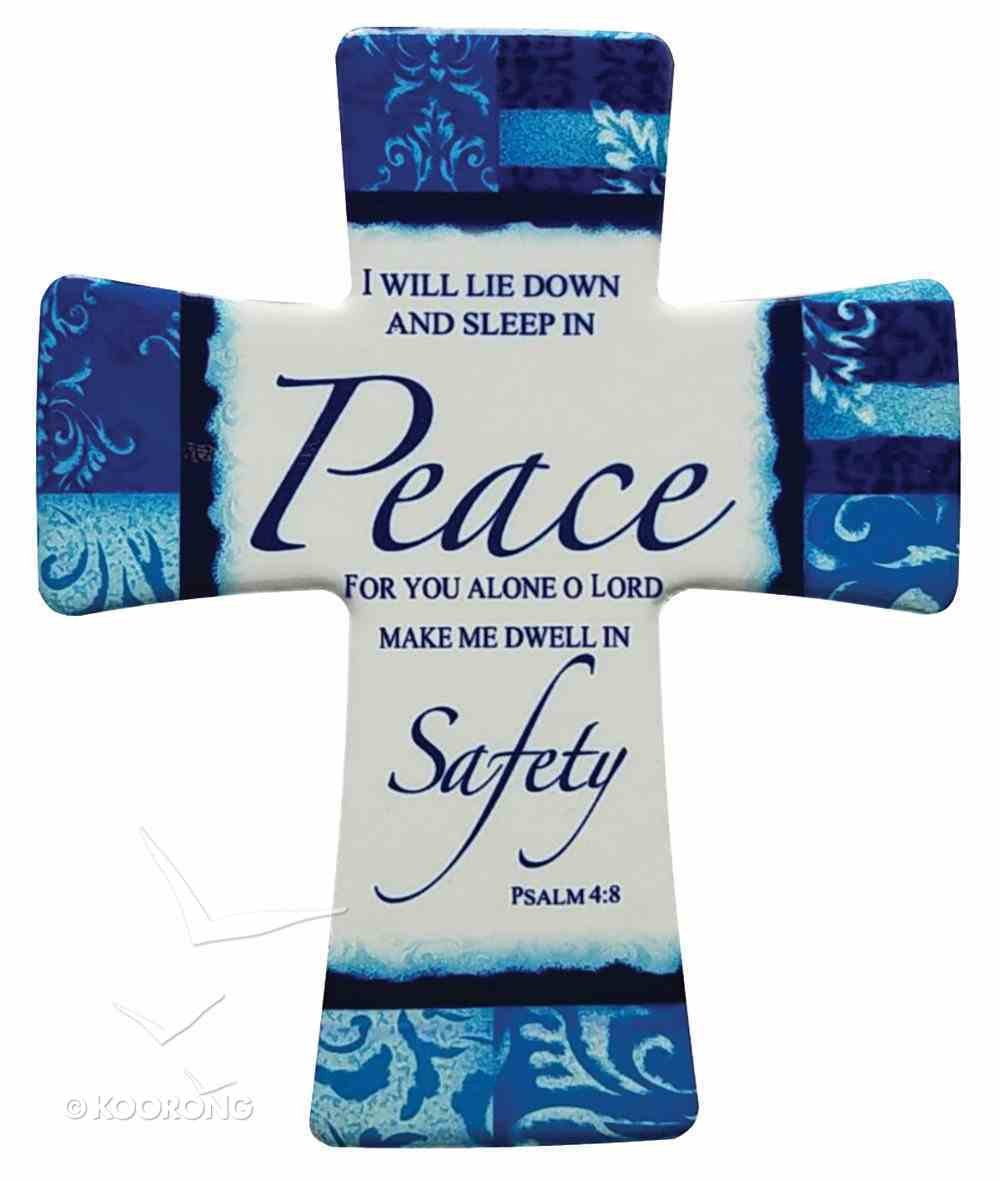 Ceramic Cross Wall Plaque: Peace For You Alone O Lord, Blue/Light Blue/White Patterns Plaque