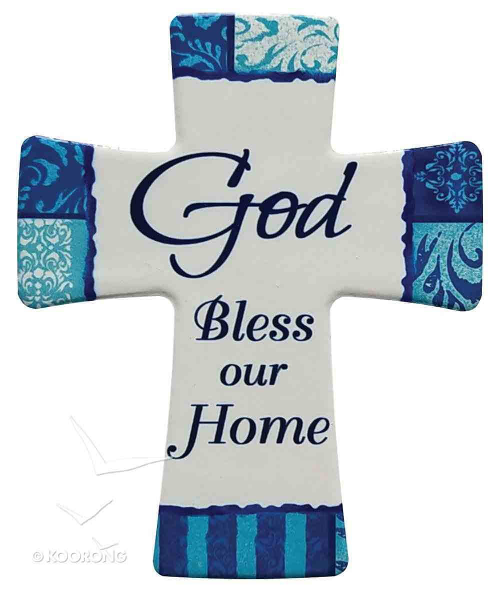 Ceramic Cross Wall Plaque: God Bless Our Home, Blue/Light Blue/White Patterns Plaque