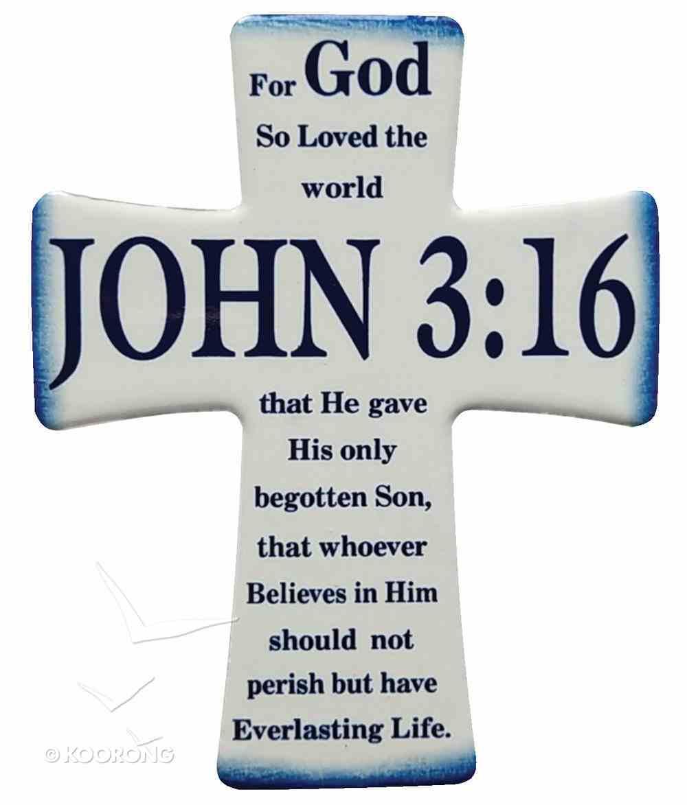 Ceramic Cross Wall Plaque: John 3:16, Blue/White Plaque