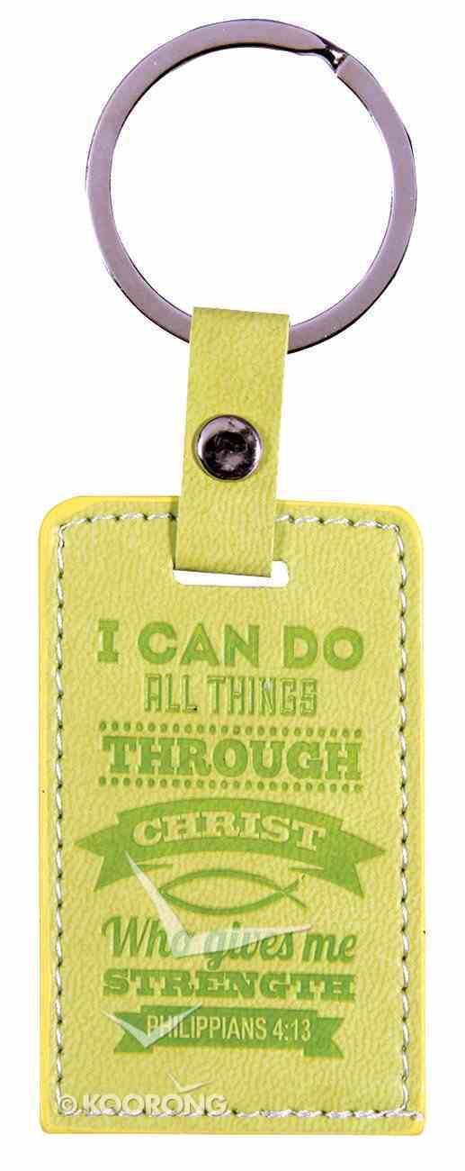 Leather Lux Keyring: I Can Do All Things, Philippians 4:13, Green Jewellery