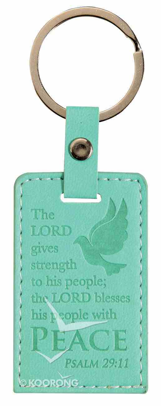 Lux Keyring: Peace, Psalm 29:11, Aqua Jewellery