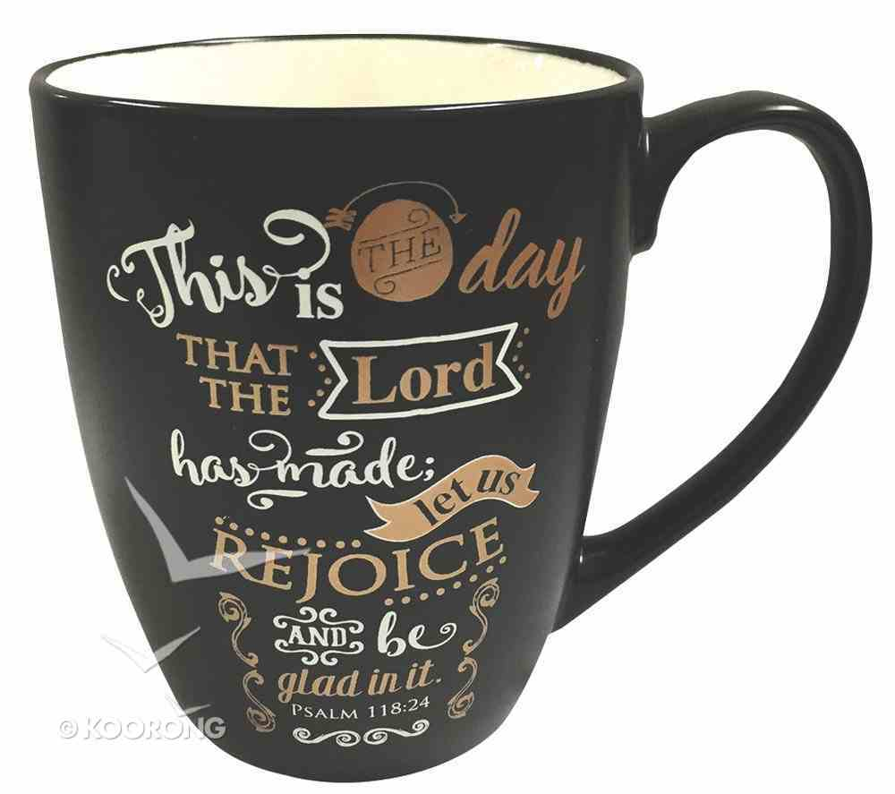 Mug: This is the Day That the Lord Has Made, Black With Gold & White, 12Oz Homeware