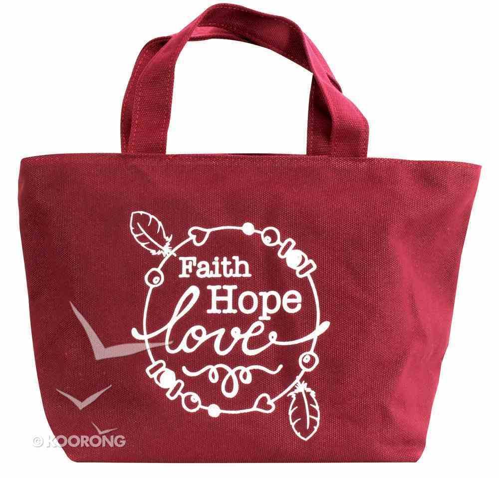 Cloth Bag: Faith Hope Love, Maroon Soft Goods