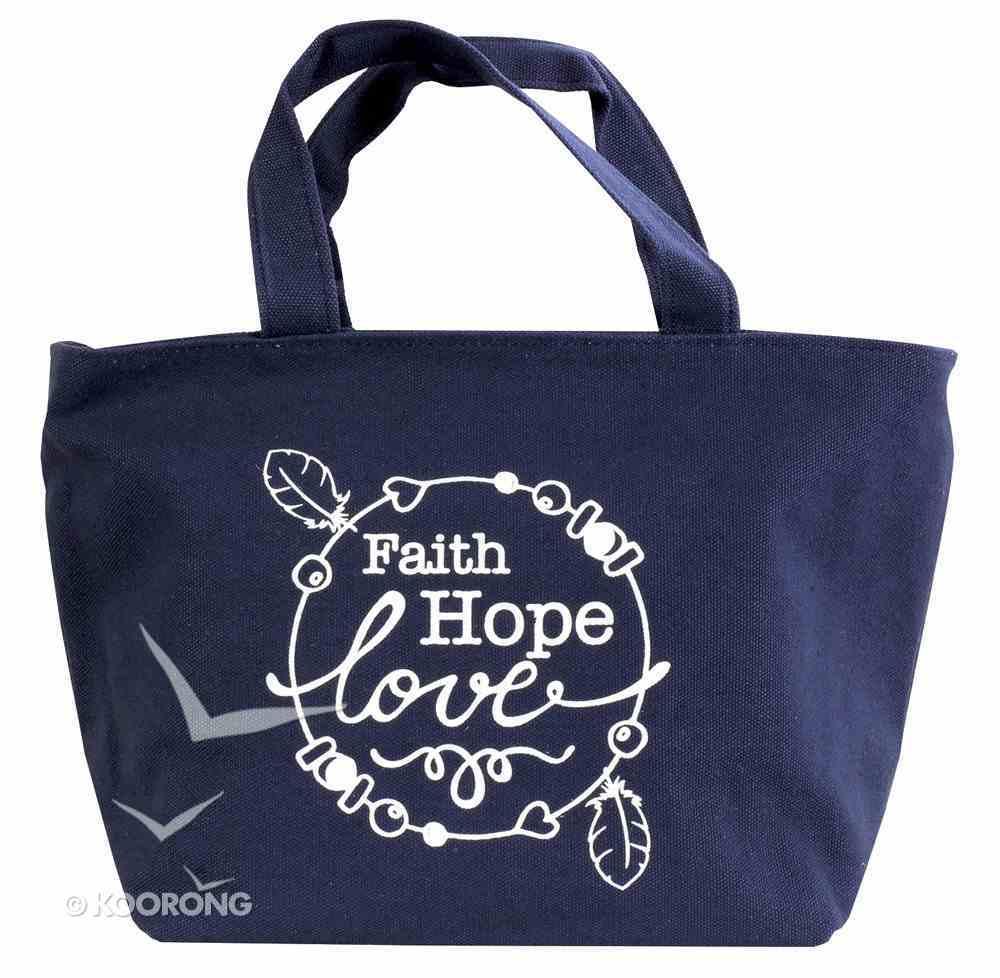 Cloth Bag: Faith Hope Love, Dark Blue Soft Goods