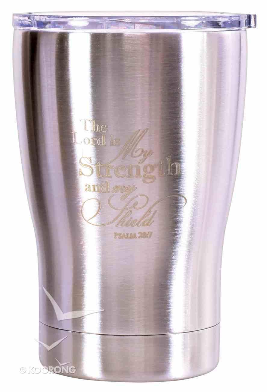 Tumbler Mug Stainless Steel: The Lord is My Strength, Metallic Silver Homeware