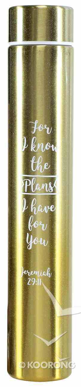 Water Bottle 250ml Stainless Steel Slim: For I Know the Plans, Yellow Gradient Homeware