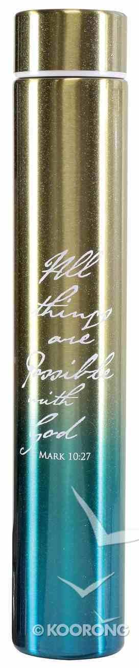 Water Bottle 250ml Stainless Steel Slim: All Things, Turquoise Gradient Homeware
