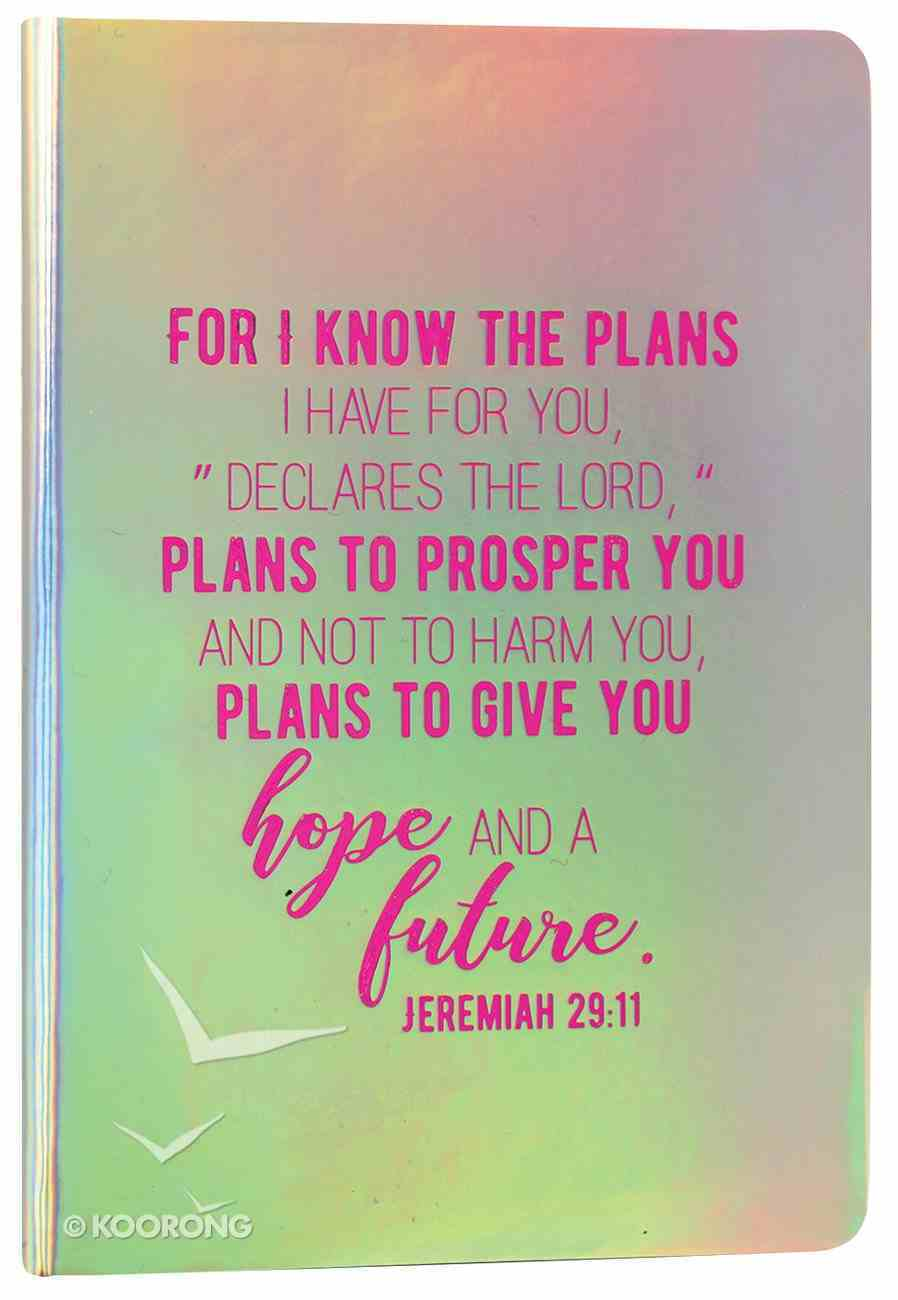 Iridescent Pearl Journal: Silver, For I Know the Plans, Jeremiah 29:11 Flexi Back