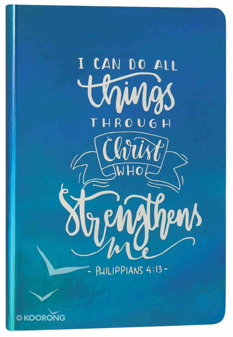 Iridescent Pearl Journal: Turquoise, I Can Do, Philippians 4:13 Flexi Back