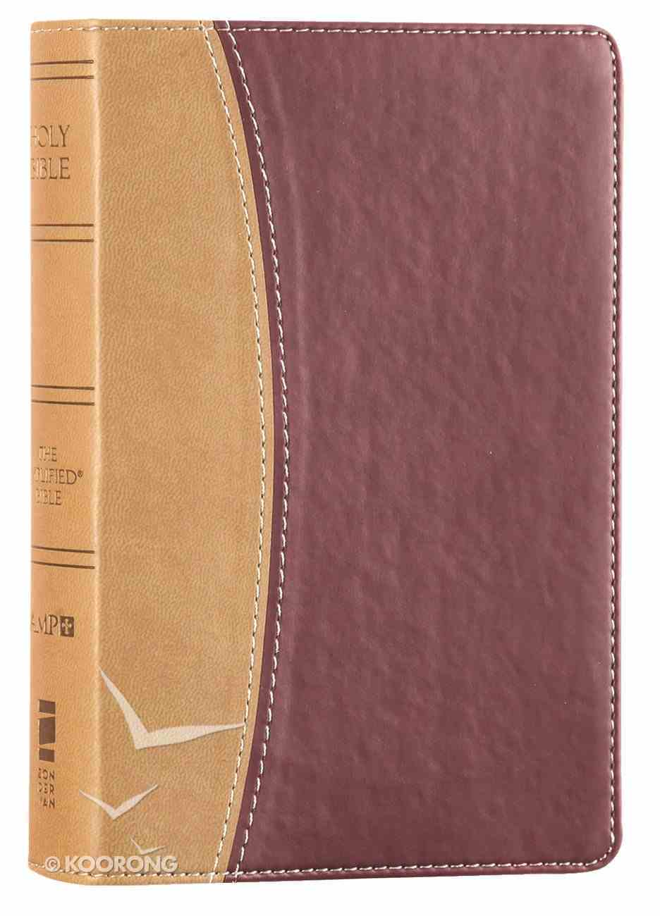 Amplified Holy Bible Compact Camel\Burgundy (Black Letter Edition) Premium Imitation Leather