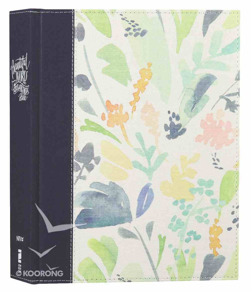 NIV Beautiful Word Coloring Bible Large Print Navy Floral (Black Letter Edition) Hardback