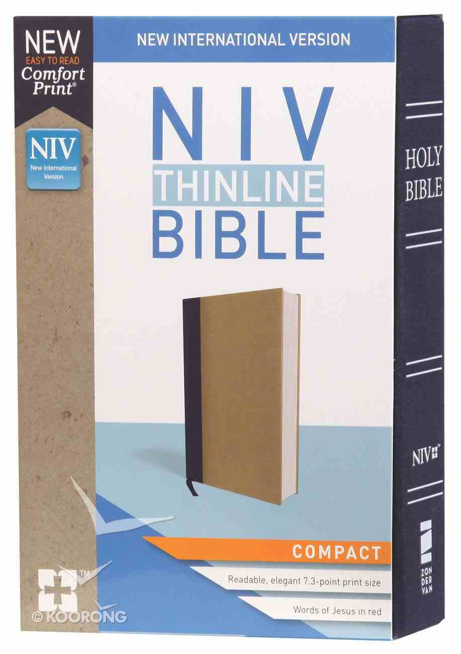 NIV Thinline Bible Compact Blue/Tan (Red Letter Edition) Hardback