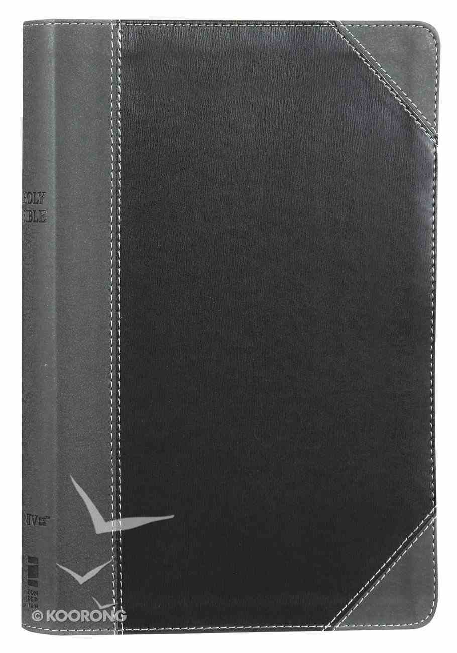 NIV Thinline Bible Large Print Black/Gray (Red Letter Edition) Premium Imitation Leather