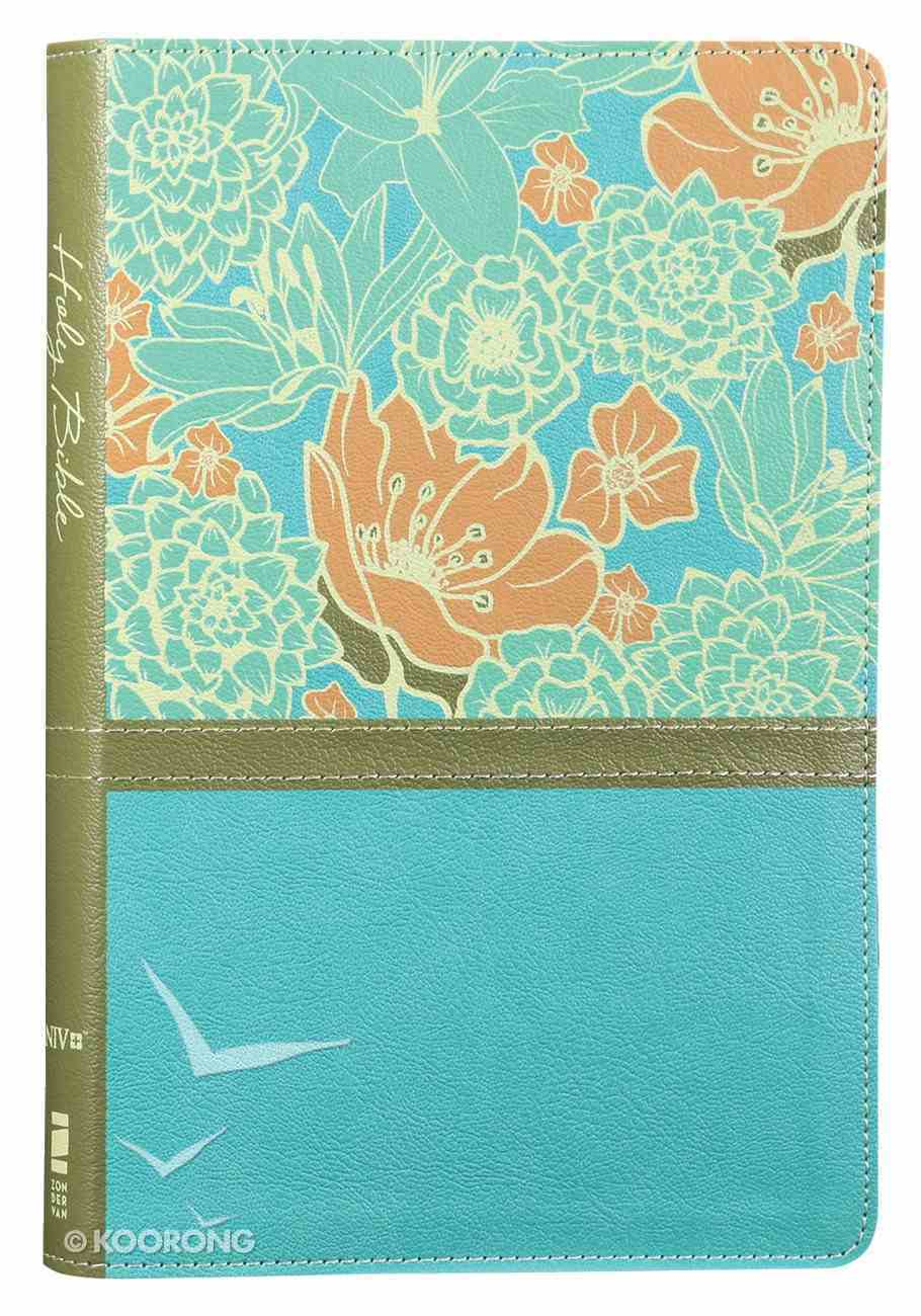 NIV Thinline Bible Large Print Blue Floral (Red Letter Edition) Premium Imitation Leather