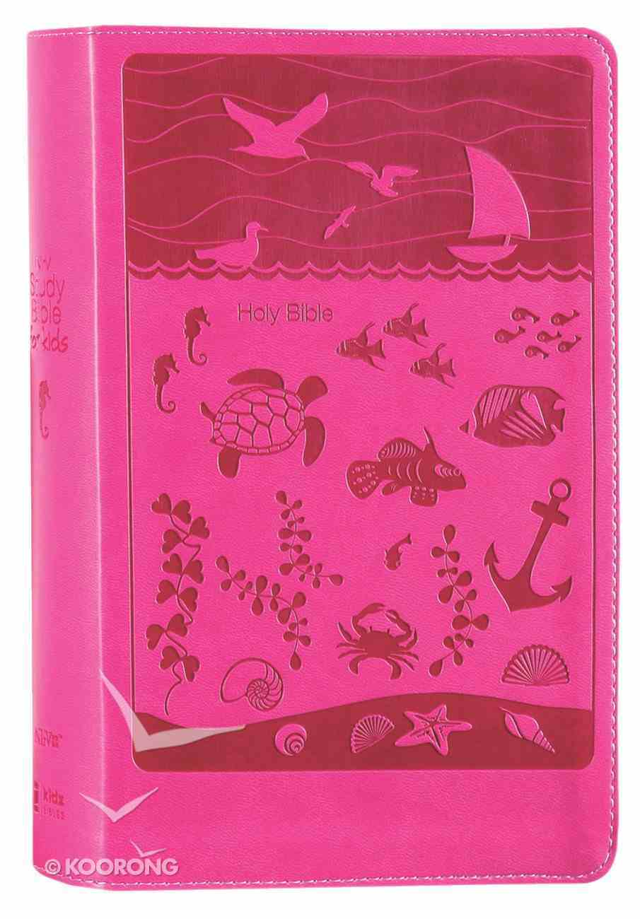 NIRV Study Bible For Kids Pink Ocean (Black Letter Edition) Premium Imitation Leather