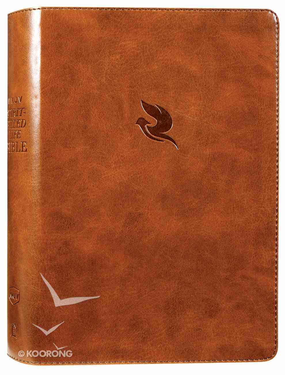 NKJV Spirit-Filled Life Bible Brown (Red Letter Edition) (Third Edition) Premium Imitation Leather