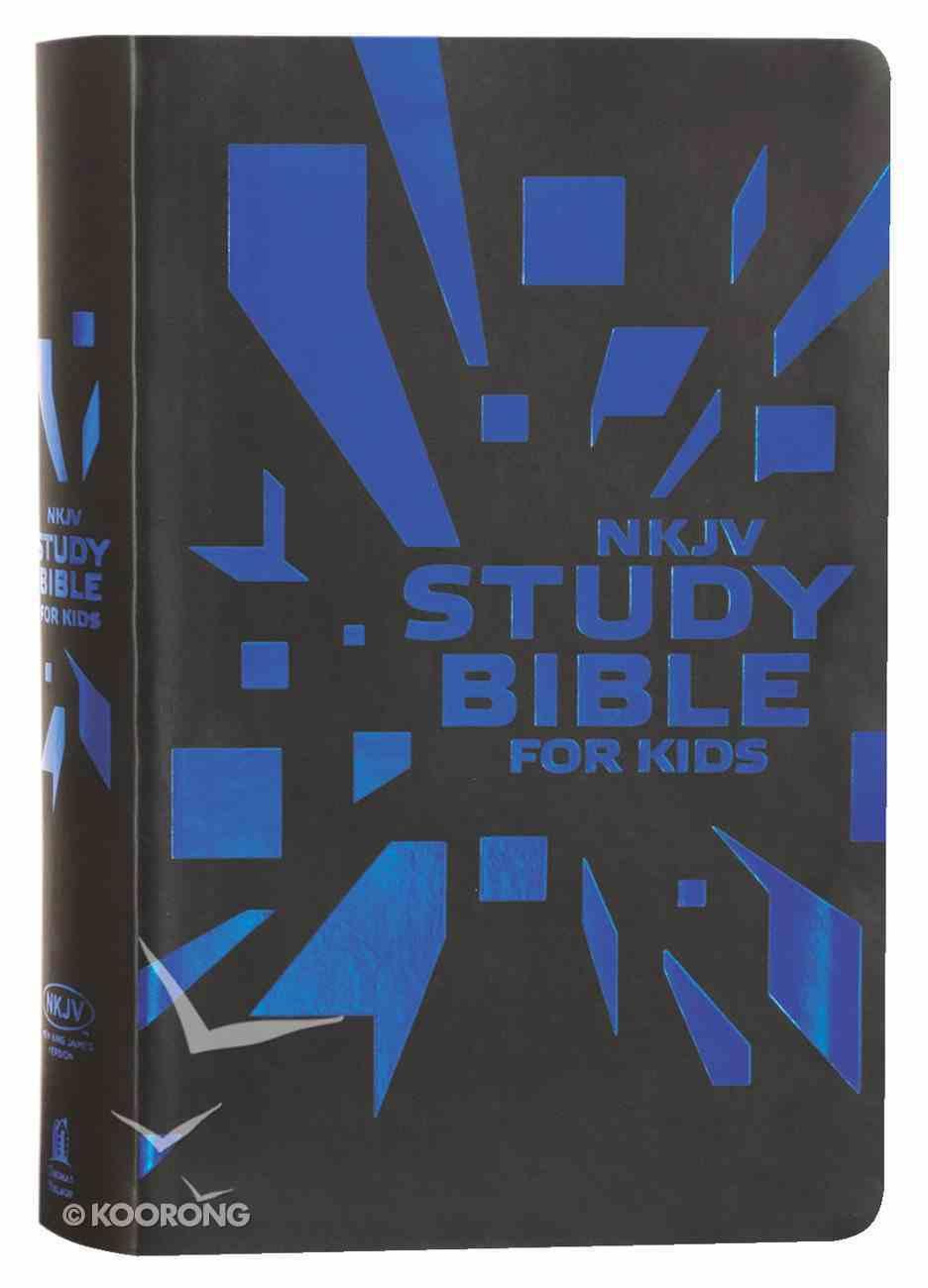 NKJV Study Bible For Kids Grey/Blue Cover (Black Letter Edition) Premium Imitation Leather