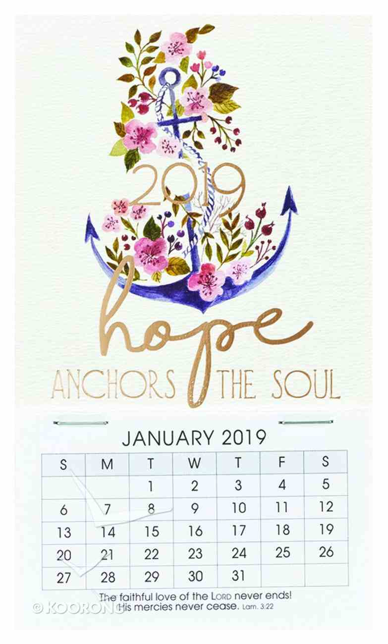 2019 Mini Magnetic Calendar: Hope Anchors the Soul, Floral/Anchor Calendar