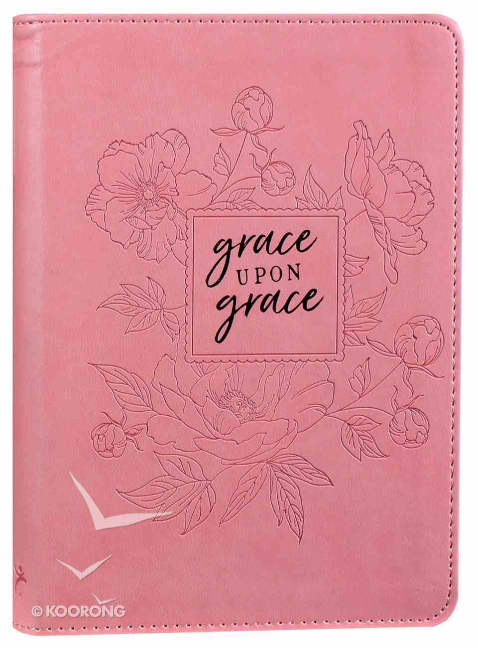 Journal: Grace Upon Grace, Pink/Floral, Handy-Sized Imitation Leather