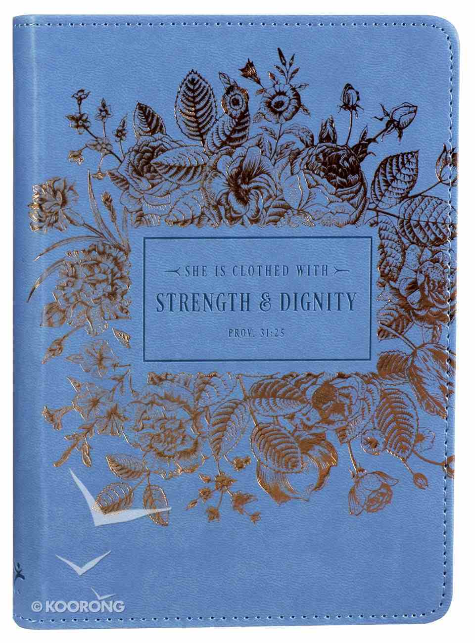 Journal: Strength & Dignity, Navy/Rose Gold Etching, Handy-Sized Imitation Leather