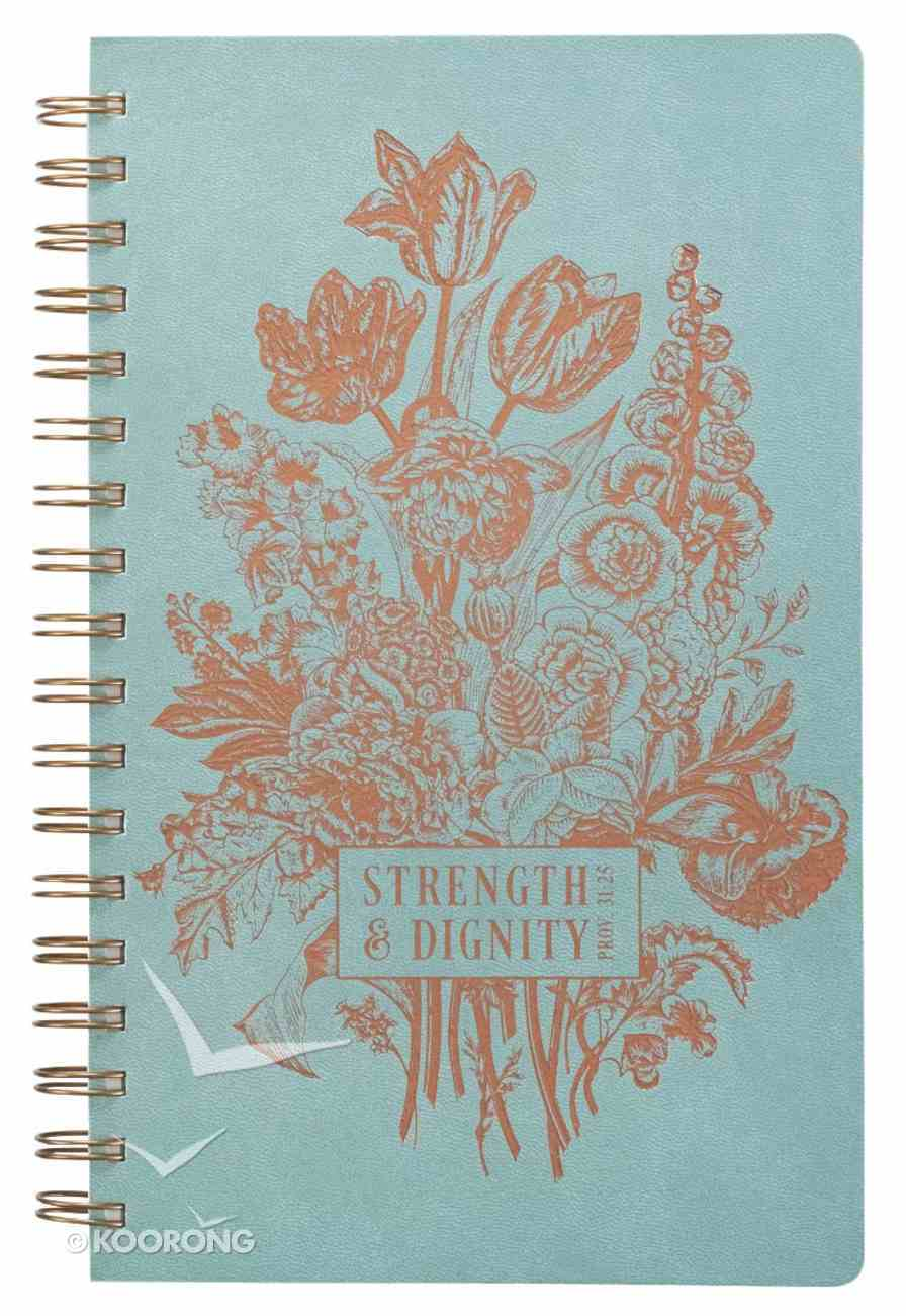Spiral Journal: Strength & Dignity, Pale Blue/Rose Gold Etching Spiral