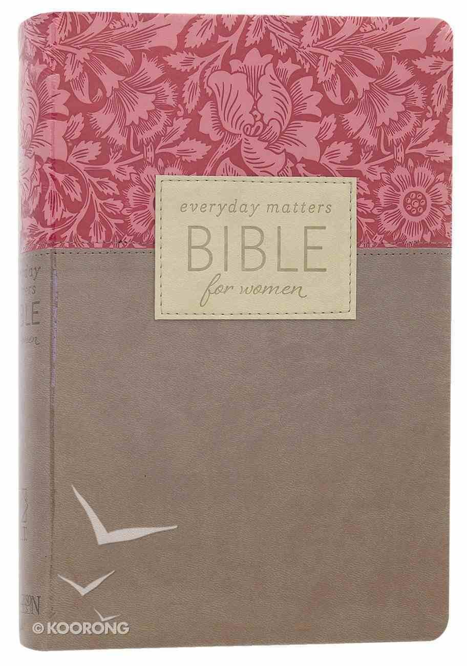 NLT Everyday Matters Bible For Women Rose Floral/Khaki Flexisoft Imitation Leather