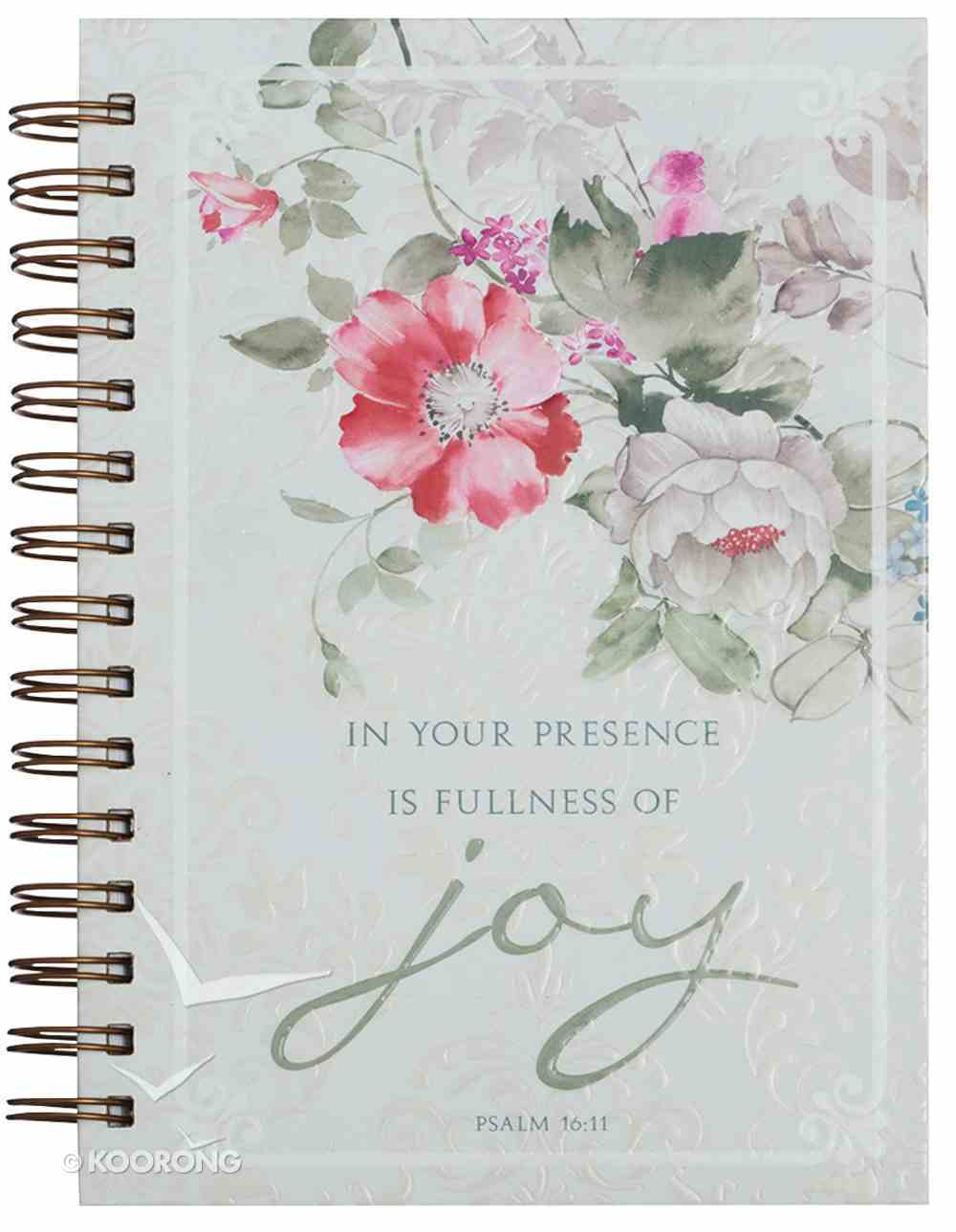 Spiral Journal: In Your Presence is Fullness of Joy, Red/White Flowers (Large) (Psalm 16:11) Spiral