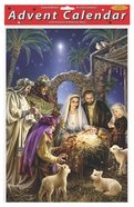 Advent Calendar: Shining Light Manger Scene, Glitter, Bible Text on Back of Windows Calendar