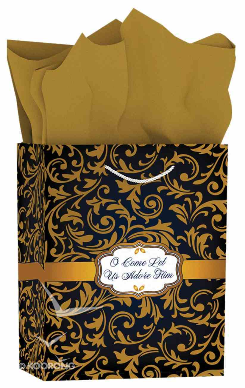 Christmas Gift Bag Medium: Blue & Gold - O Come Let Us Adore Him (Matthew 2:2) Stationery