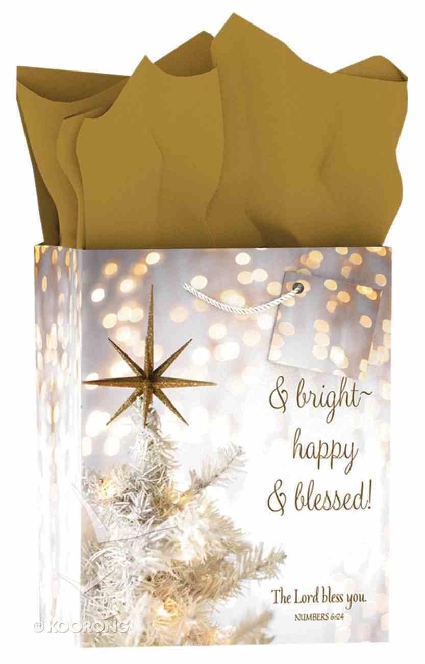 Christmas Gift Bag Medium: Merry & Bright - Happy & Blessed (Bokeh) Stationery
