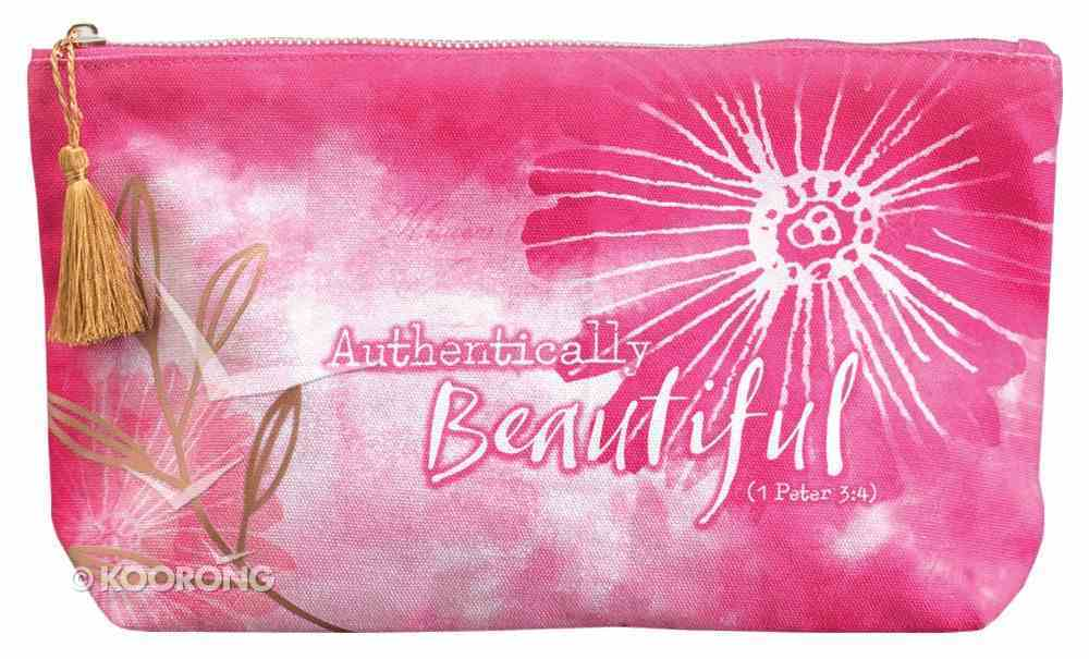 Travel Bag: Authentically Beautiful, Pink/White/Metallic Accents (1 Peter 3:4) Soft Goods
