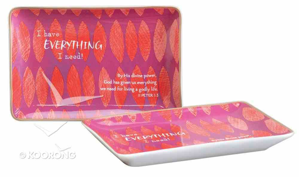 Trinket Dish: I Have Everything I Need, Purple/Orange/Metallic Accents (2 Peter 1:3) Homeware
