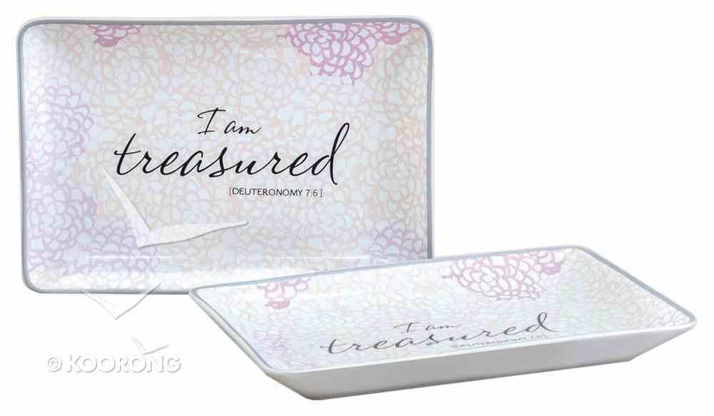 Trinket Dish: I Am Treasured, Cream/Pale Pink (Deut 7:6) Homeware